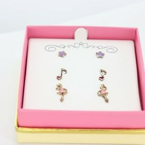 3 Piece Set Enamel Dance Stud Earrings in 18k Gold